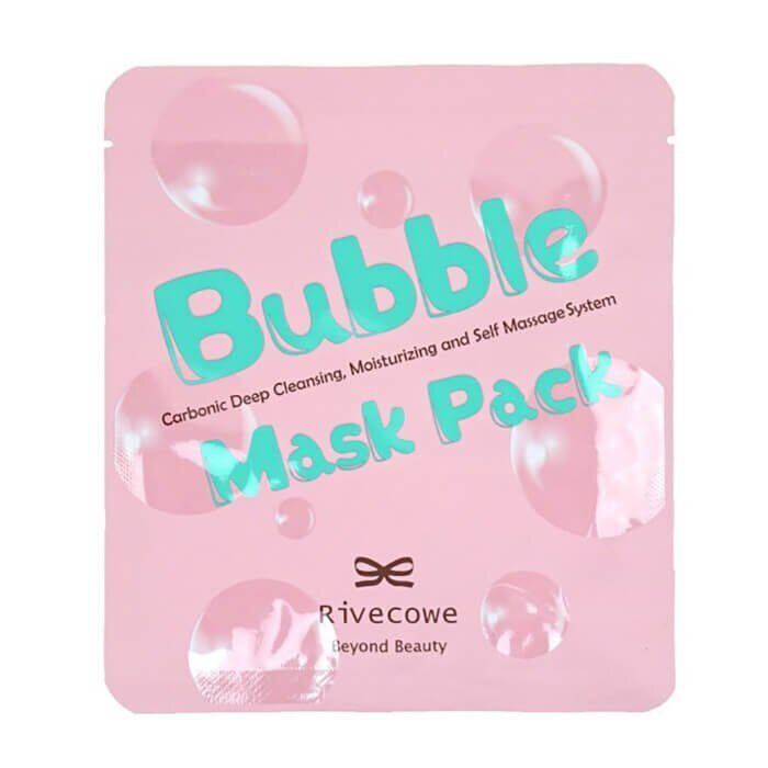 Углеродная глубоко очищающая тканевая маска Rivecowe Bubble Mask Pack